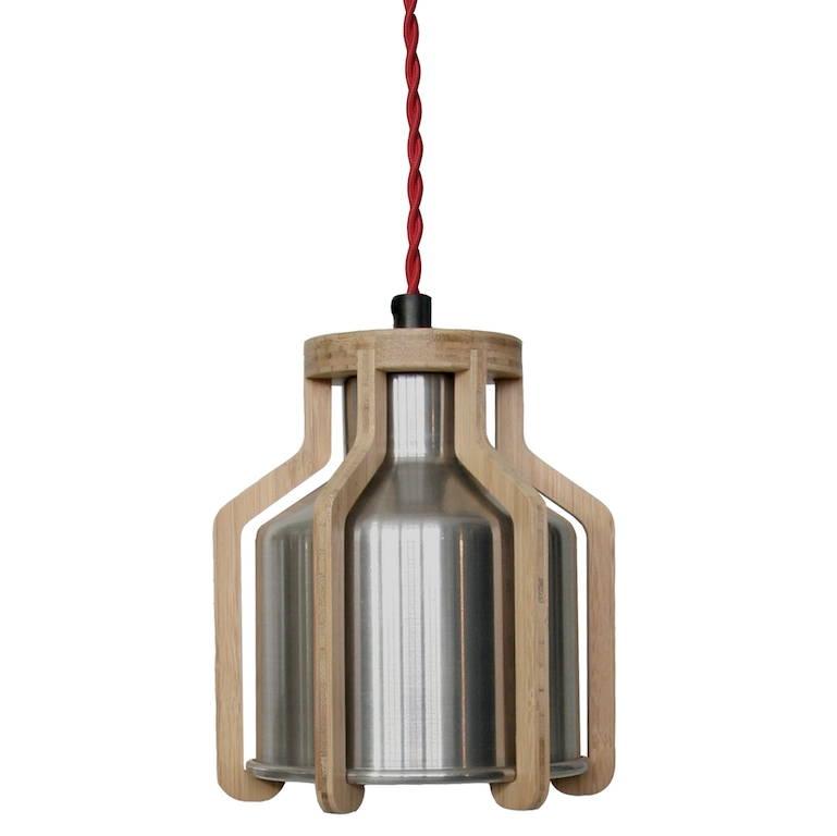 lampada in alluminio e bambu