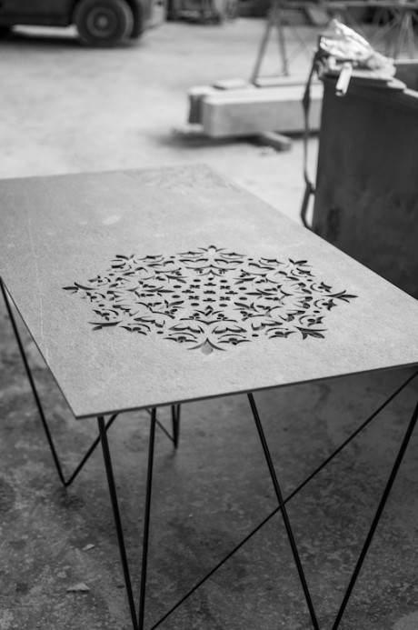 tavolo Crochet in pietra traforata