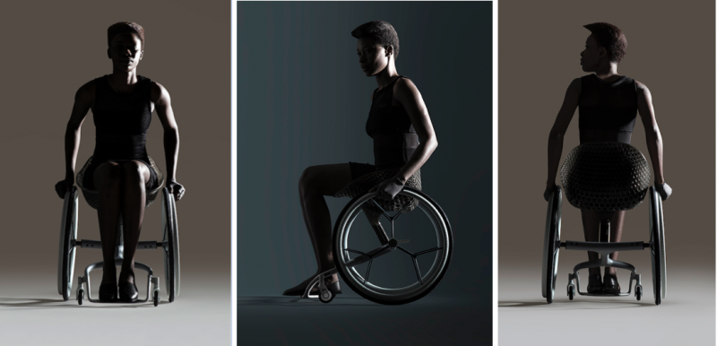 La sedia a rotelle di design stampata in 3D