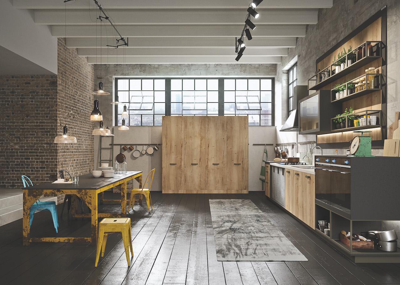 Stile industriale per la cucina loft di snaidero - Cucina stile industriale ...