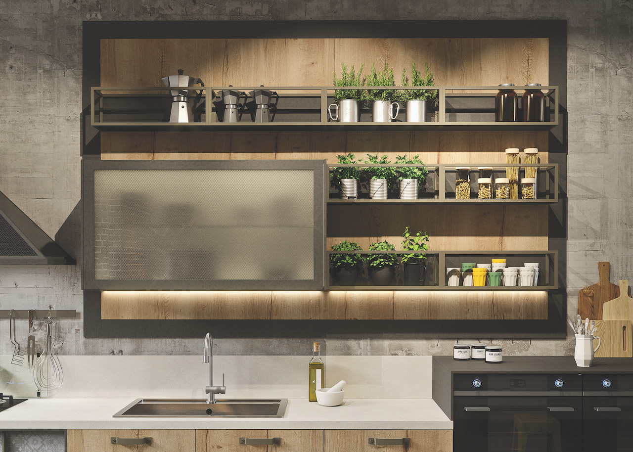 Stile industriale per la cucina Loft di Snaidero