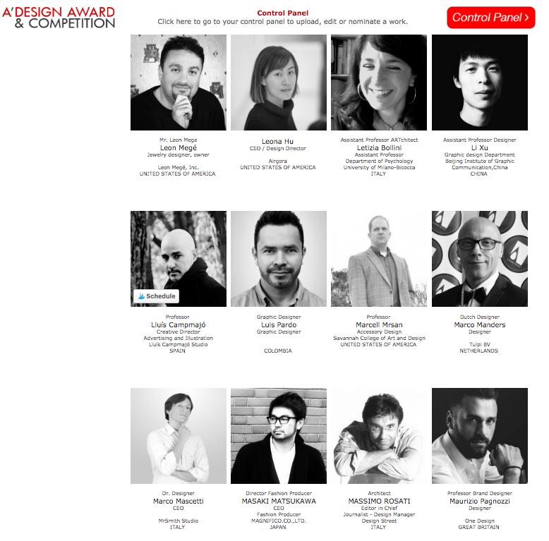 A' Design Awards 2017. Jury