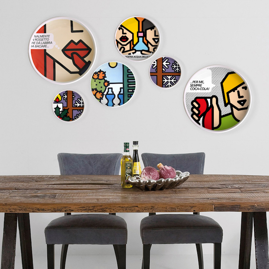PIT POP. Decorazioni per la casa. piatti sui muri