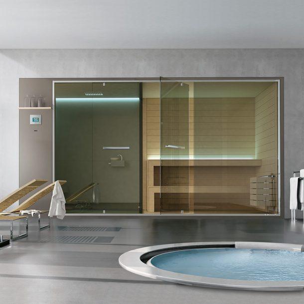 Sistema Ehos C. Sauna, doccia, Hammam Ethos, di Hafro-Geromin