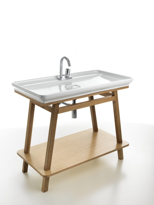 Lavabo a cavalletto per la stanza da bagno in legno